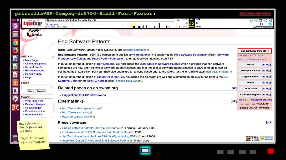 End Software Patents - software patents wiki (en.swpat.org) End Software Patents (ESP) is a campaign to abolish software patents, launched in February 2008.[1] ESP is supported by Free Software Foundation (FSF), Software Freedom Law Center, and Public Patent Foundation, and has received financing from FSF.